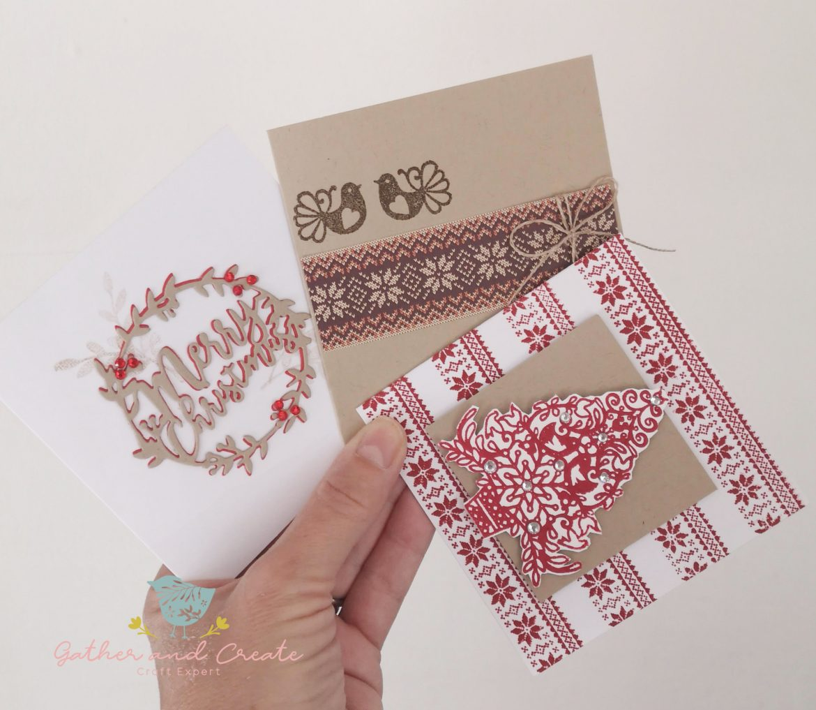 3 Christmas Cards Using Free Sara Davies Stamps And Die Gather And Create