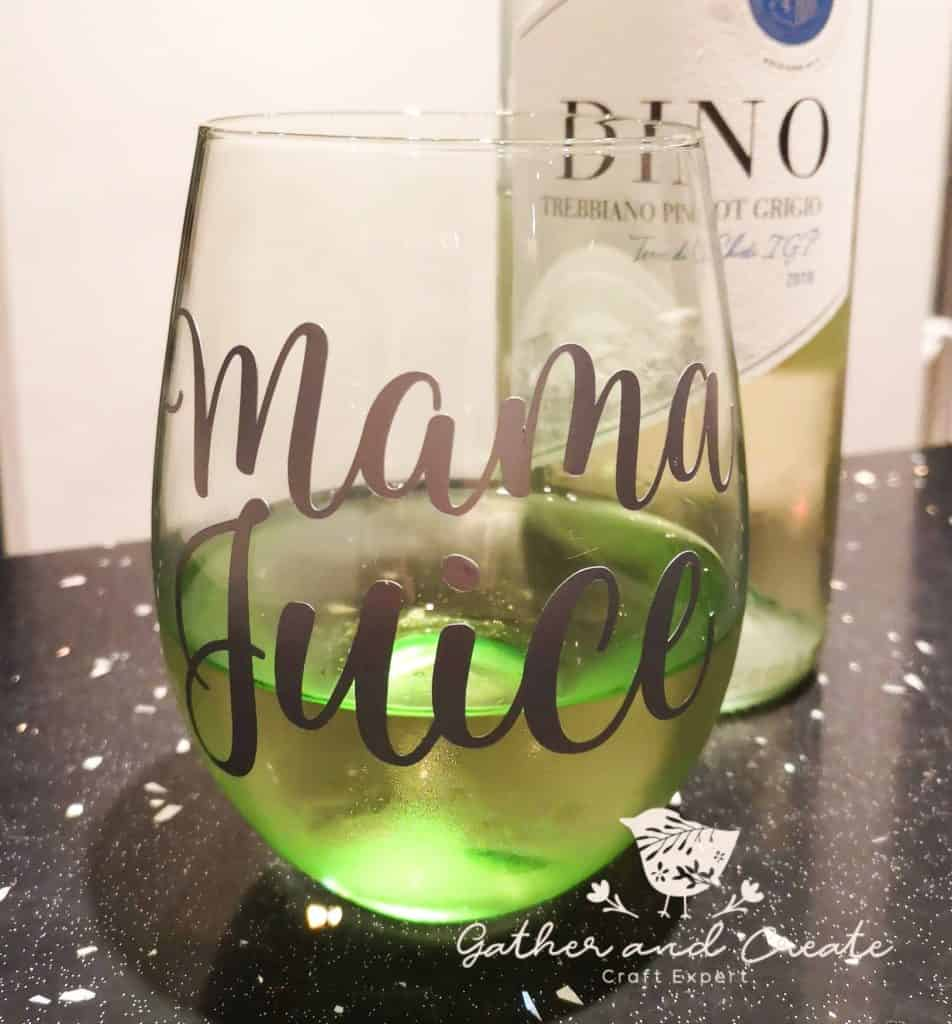 Cricut wine glass project
