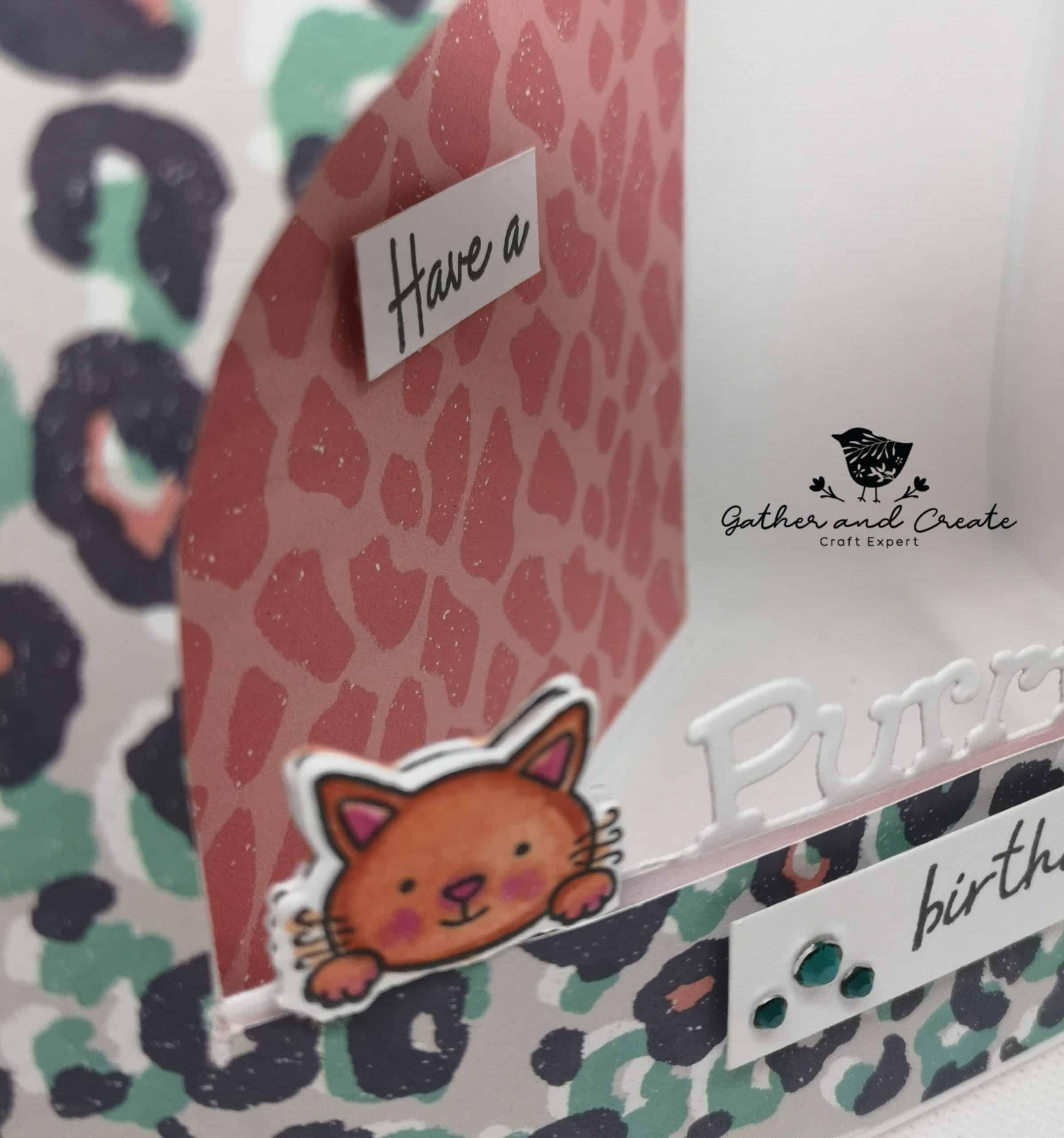 Crafters Companion Cat Peek-a-Boo birthday card