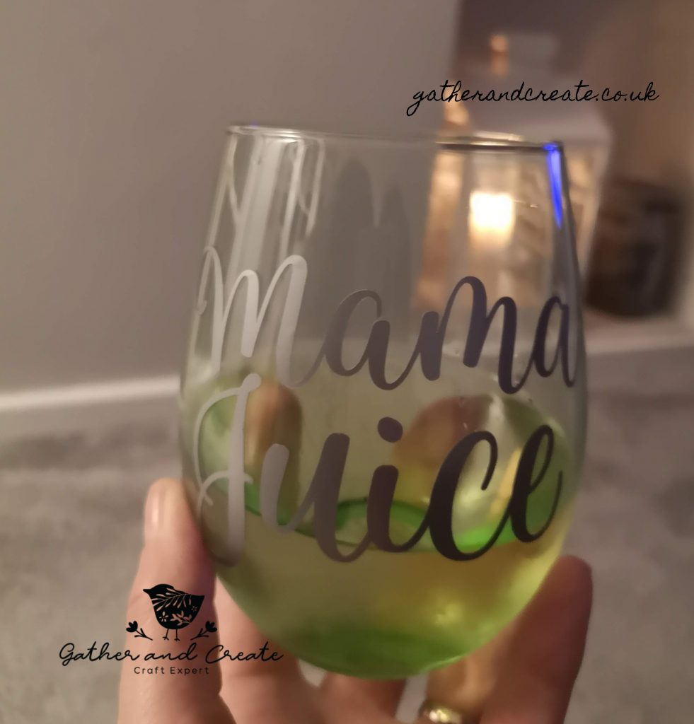 Wine glass with cricut
