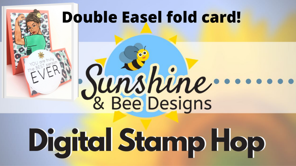 Digital stamp double easel fold card. Fancy fold card, card making tutorial, easy cards, digi, easy card designs, beginner card making, cards for carer, cards for doctors, cards for nurses,