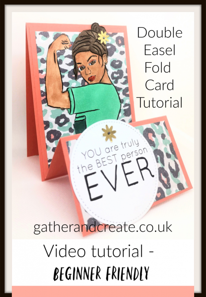 Digital stamp double easel fold card. Fancy fold card, card  making tutorial, easy cards, digi, easy card designs, beginner card making